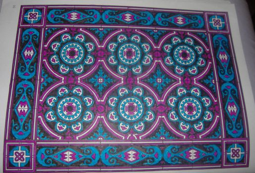 (For jojosmom!) Magenta, Blue & Black Passion Flower Tile - Larger