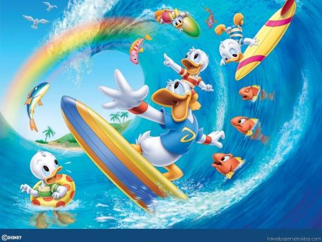 surfing donald duck