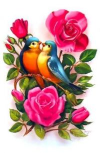 Themes Vintage illustrations/pictures - Bluebirds in Love