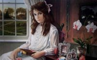 Pati Bannister Art ' Girl Sitting In By The Window With  A Book.