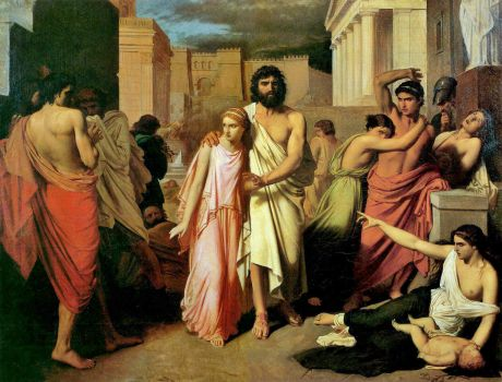 Charles Francois Jalabert - The Plague of Thebes (alternate title: Oedipus and Antigone)