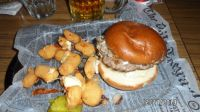 burger and fried cheese curds