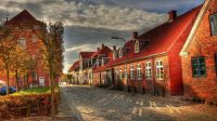 Europe-buildings-houses-street-autumn-morning