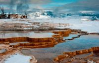 Snow on Mammoth Hot Spring Terraces, Yellowstone National Park