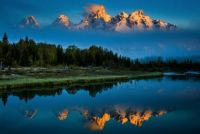 The Grand Tetons kissed by a sunrise