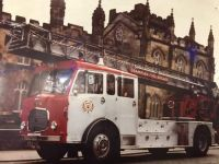 Turntable ladder outside Kings College in Aberdeen