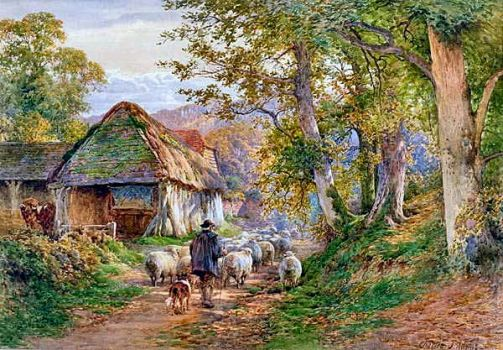 Shepherd and His Flock by Charles James Adams (1859-1931)