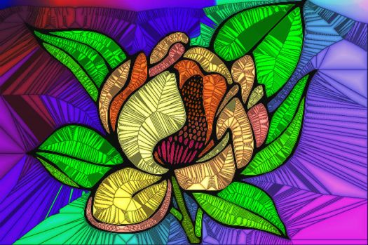 STAINED GLASS FLOWER B50