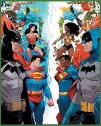 JLA vs JLA (multiverse) Varient Art (DC Comics)