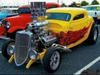 1934 Ford 3 window coupe with blown Hemi