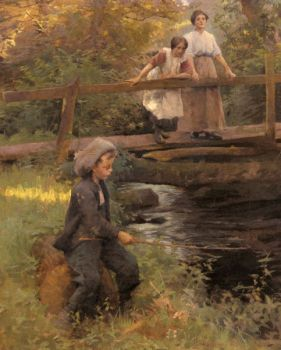 Fishing by Forest Stream by Harold Harvey
