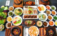 Hanjeongsik - a full-course Korean meal with a whole array of savory side dishes