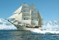 Bark EUROPA in Antarctica, among the icebergs.