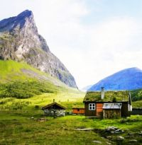 Cabin and Barn in the Mountains of Norway...