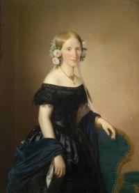 Joseph Weidner Bildnis einer Dame mit Rosen im Haar 1854