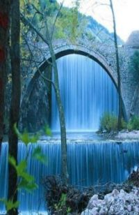 Bridge of Palaiokarya Waterfall in Kalambaka - Greece