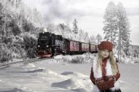Young Girl and Train in Snow