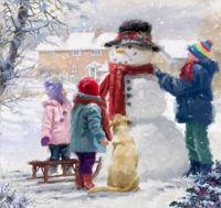 'Kids With Snowman' by The Macneil Studio