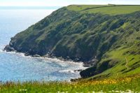Coastal path Lantic Bay near Polruan Cornwall