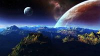 Outer space and mountains