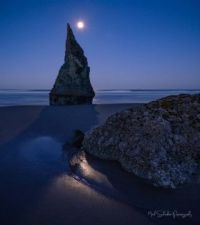 Full Moon over Wizard's Hat, OR Coast  by Mitch Schreiber Papatography