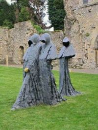 Sculptures in an abandoned Abbey in England