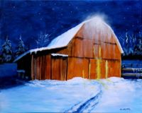 Barn in snow