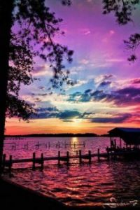 Purple and turquoise sunset