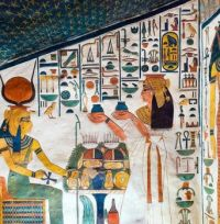 Nefertari, queen and wife of Ramses II, making offerings to the goddess Hathor