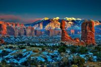 Winter panorama of Arches National Park in Utah