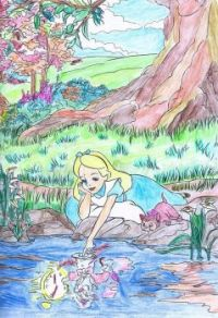 Coloring Alice in Wonderland Birthday Wishes For TeaMac & MrsMike1