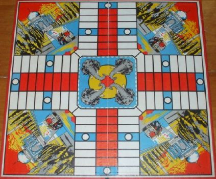 1950s vintage game board..India Parcheesi