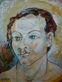 Portrait of a young man. ( Sennelier oil pastels on ingres paper. )