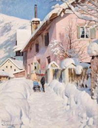 """Peder Mørk Mønsted, """"Sleigh Ride in the Alps"""", 1916"""