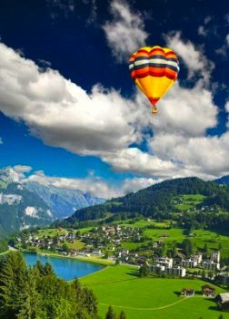 SWISS VILLAGE WITH BALLOON