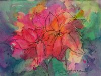 A Watercolor Painting of Poinsettias