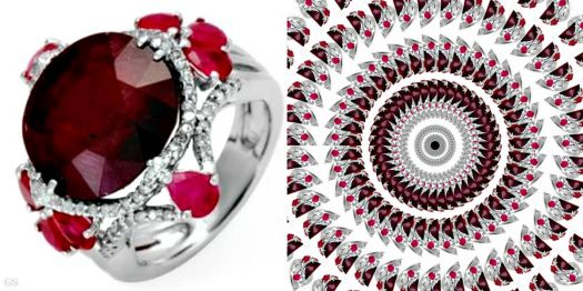 Ruby ring and its kaleidoscope