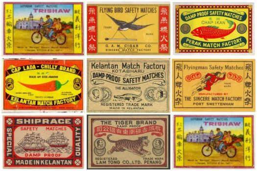 old malaysian matchboxes