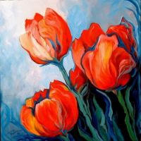 Red tulips blue sky