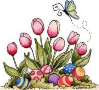 Tulips And Colored Eggs