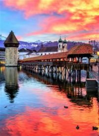 Colorful Sunset At The Chapel Bridge -- Lucerne Switzerland...