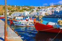 Colourful array of fishing boats in old port of Mykonos, Greece