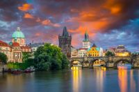 Sunset over the River Vltava and Charles-Bridge Prague, Chech Republic