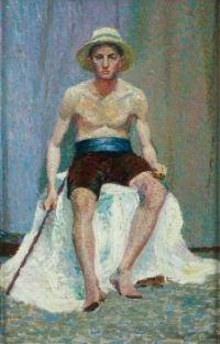 Tempe Manning (Australian, 1896-1960), Seated male model, 1916.