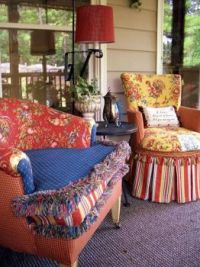 Fanciful chairs on the porch