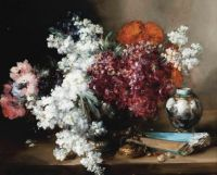 Antoine Vollon (French, 1833–1900),  Anenomes and Marigolds by a Vase and a Fan on a Stone Ledge