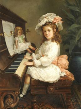Nicholas Chevalier (1828-1902) Australian Portrait of Miss Winifred Hudson as a Young Girl, seated at a piano, her doll nearby,