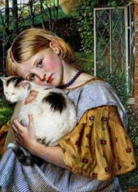 A Girl with a Cat, Robert Braithwaite Martineau