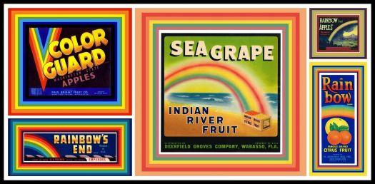 Vintage Fruit Crate Labels Depicting Rainbows