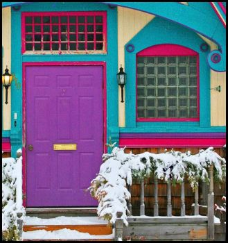 The bright snowy doorway with more pieces